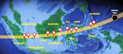 Lokasi dan Waktu Terjadinya Gerhana Matahari Total 2016 Di Indonesia