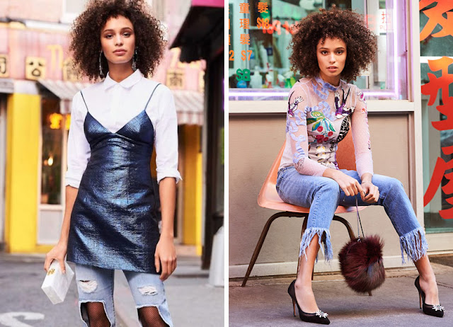 Платье из ламе и прозрачный топ с джинсами