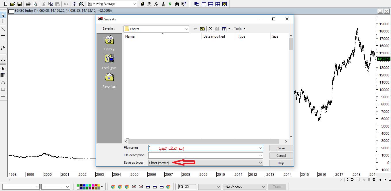 تسجيل الملف الجديد على برنامج الميتاستوك