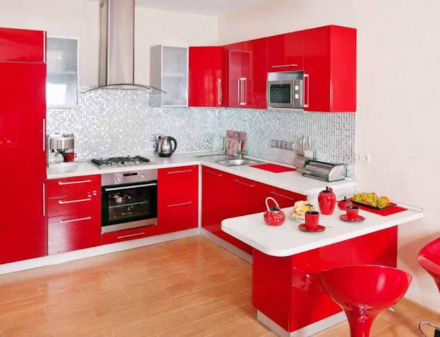 kabinet dapur warna merah putih