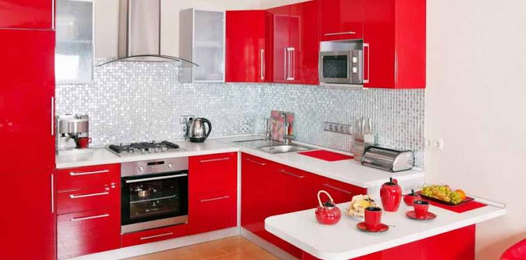 Dekorasi Desain Dapur Warna Merah Terbaru