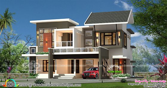 2220 square feet modern home plan with 4 bedrooms