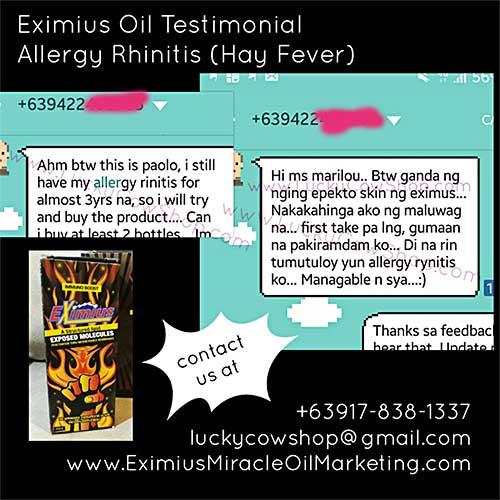 eximius oil testimonial allergic rhinitis hay fever
