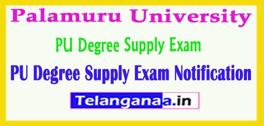 PU Degree Supply Palamuru University Degree Supply Exam Notification 2018