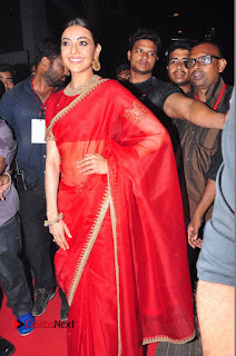 Actress Kajal Agarwal Stills in Red Saree at msavam Audio Launch 0041