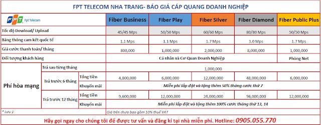 Các gói cáp quang dành cho Doanh nghiệp, công ty, Đại lí kinh doanh Internet.