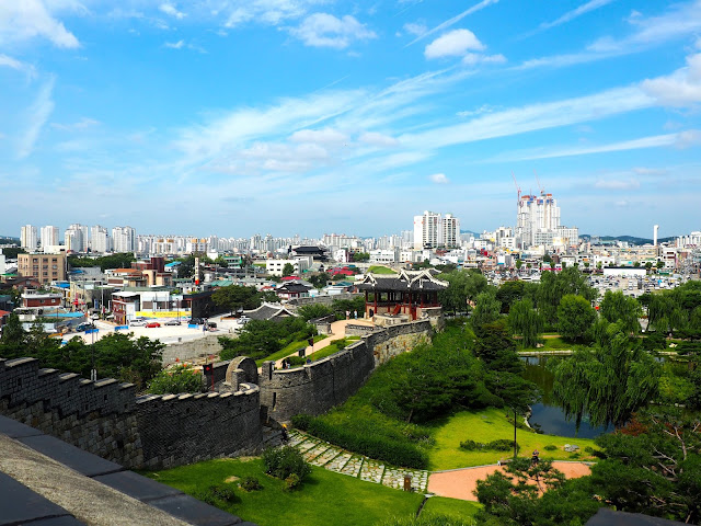 View from Hwaseong Fortress walls over Suwon, Gyeonggi-do, South Korea
