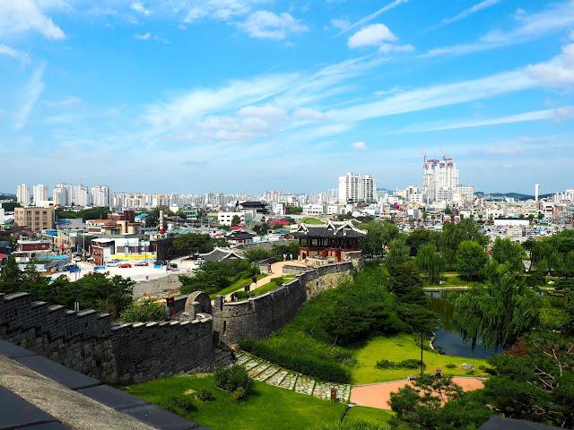 View from Hwaseong Fortress walls over Suwon, Gyeonggi-do, South Korea