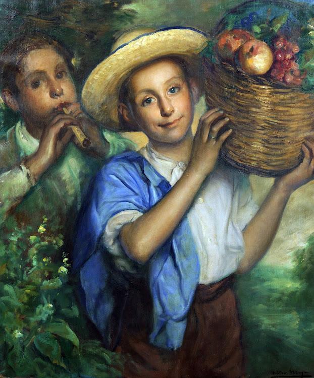 Niños en el campo con cesta de frutas, Victor Moya Calvo, Pintor español, Pintores Valencianos, Retratos de Victor Moya Calvo, Pintores españoles, Pintor Victor Moya, Pintores Valencianos