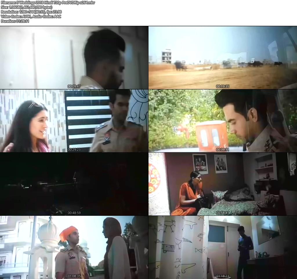 5 Weddings 2018 Hindi 720p PreDVDRip | 480p 300MB | 100MB HEVC Screenshot