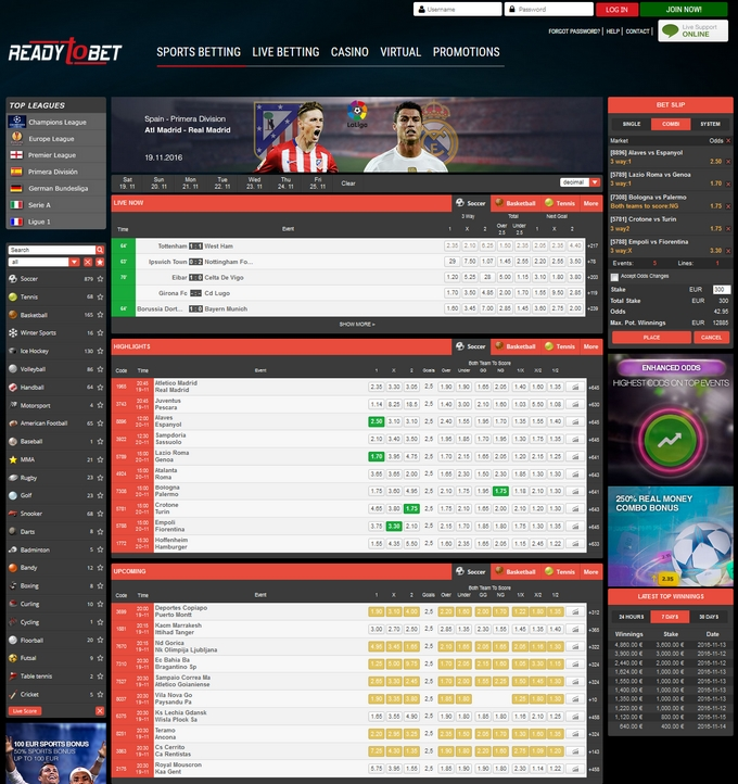 Readytobet Screen