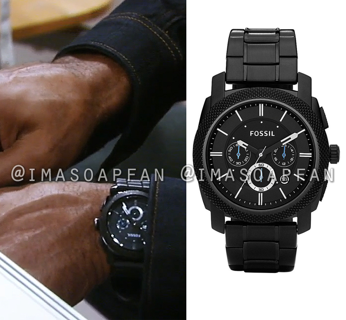 Curtis Ashford, Donnell Turner, Black Stainless Steel Watch, General Hospital, GH