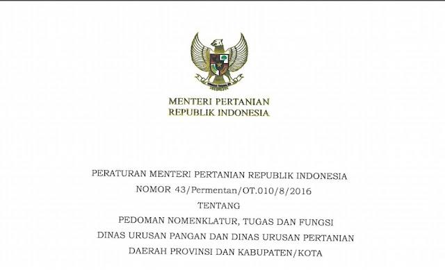 Permentan Nomor 43/Permentan/OT.010/8/2016.
