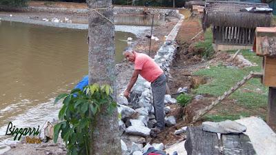 Construção do muro de pedra em volta do lago, com pedra rachão, para evitar o desmoronamento do barranco em volta do lago. Muro de pedra em Cotia-SP.