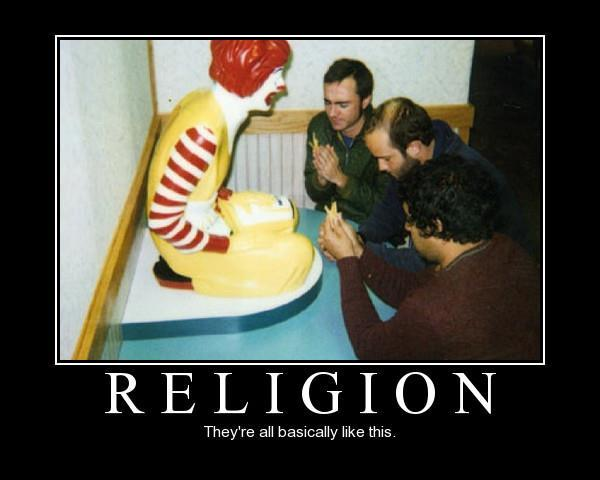 religion brainwashing Ronold McDonald beign prayed to and worshipped