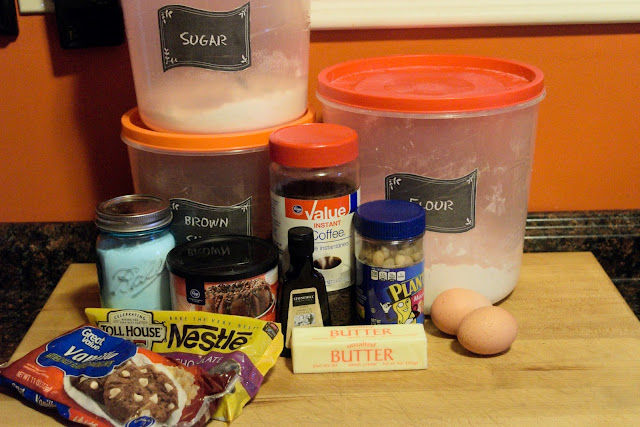 The ingredients needed for the triple chocolate macadamia nut cookies.