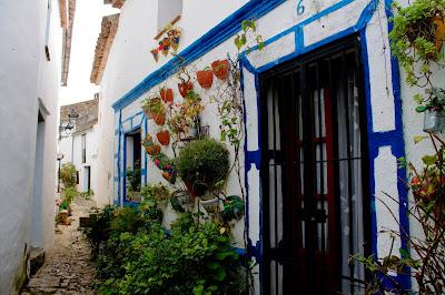 Piękna hiszpańska uliczka ozdobiona kwiatami