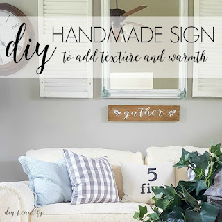 Make this farmhouse 'GATHER' sign using  my free printable! Find it all at diy beautify!