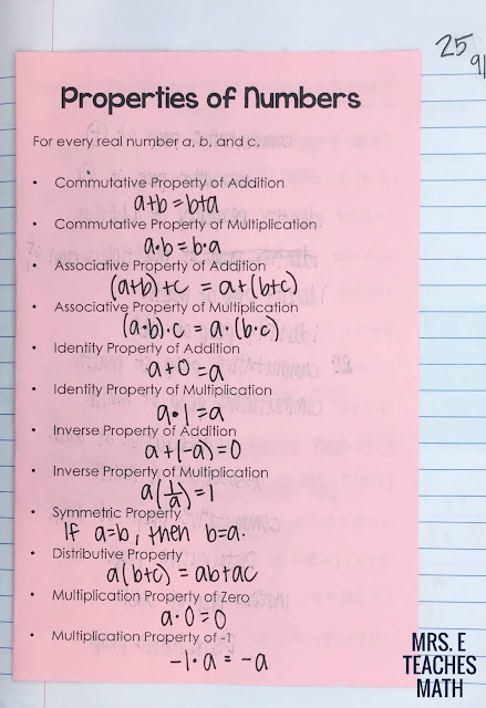Properties of Real Numbers Foldable for algebra interactive notebooks