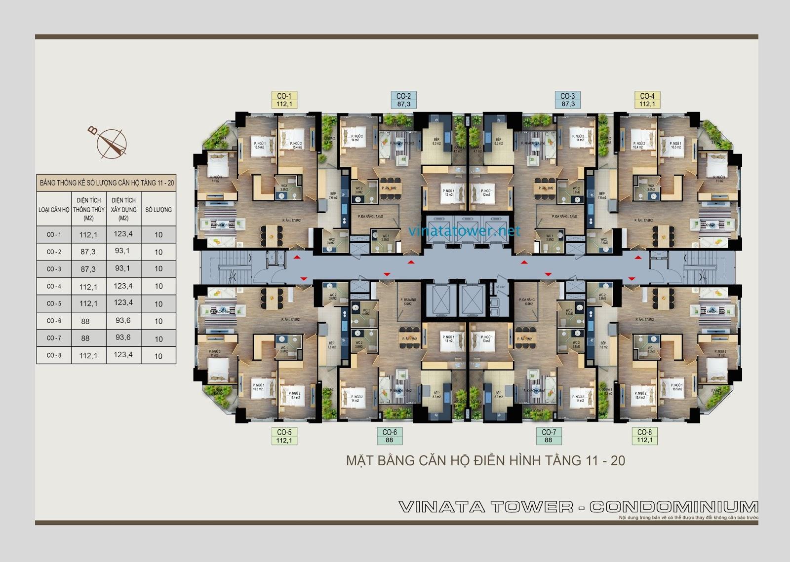 Mặt bằng tầng 11 đến tầng 20 chung cư Vinata Towers