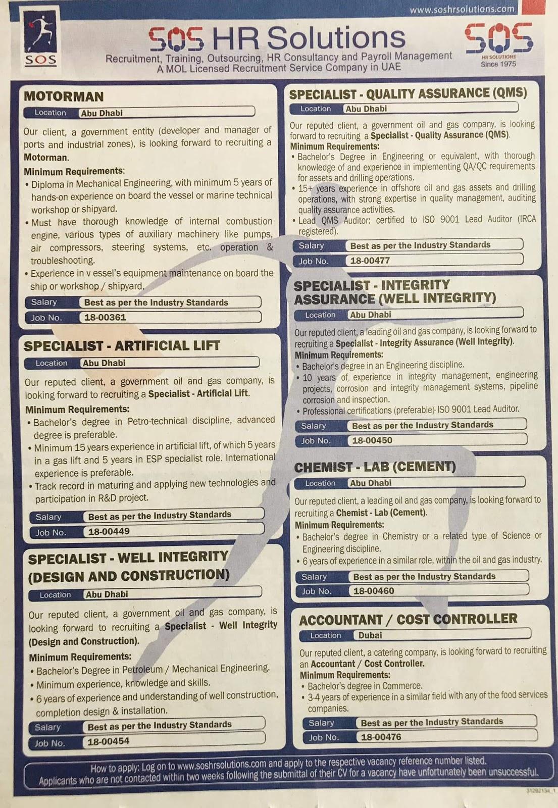 JOBS IN HR SOLUTION UAE JOBS LOCAL HIRING KHALEEJ TIMES-UAE