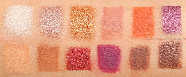 Swatches of the Coloured Raine Queen of Hearts Eyeshadow Palette
