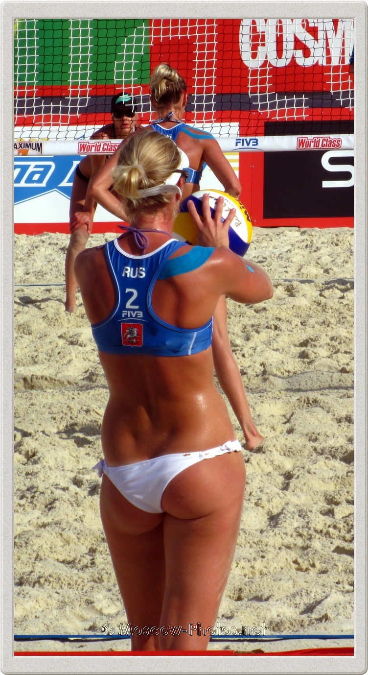 Serve of the Russian Beach Volleyball Team