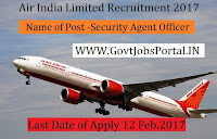 Air India Limited Recruitment 2017 –Security Agent Officer Post