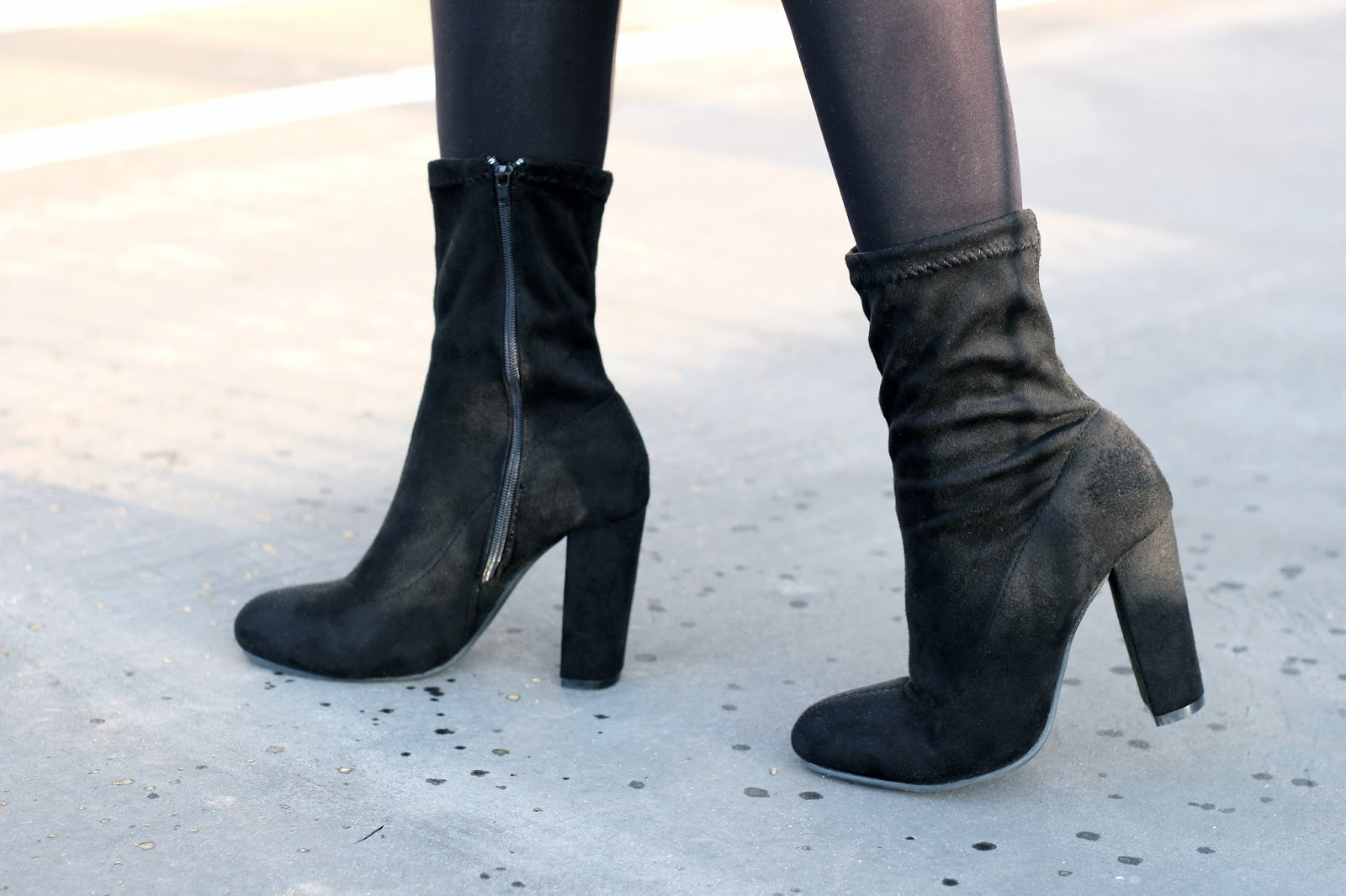Boohoo black suede high heeled sock boots