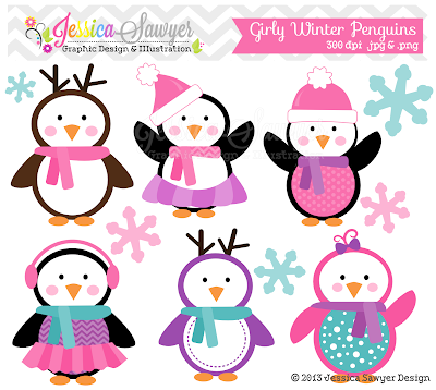 New! Christmas Penguin Clipart | Jessica Sawyer Design