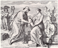 Rebecca offers water to Abraham's servant. Genesis 24: 10-28.