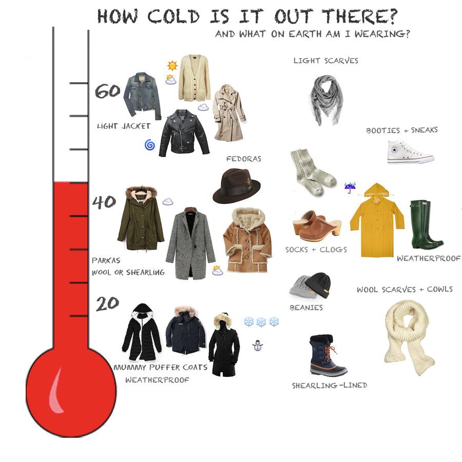 Not kidding you   ve been saying for years that somebody was going to make  temperature coat chart me and it would change my life now look also hey natalie jean how dress new york city winter rh heynataliejean