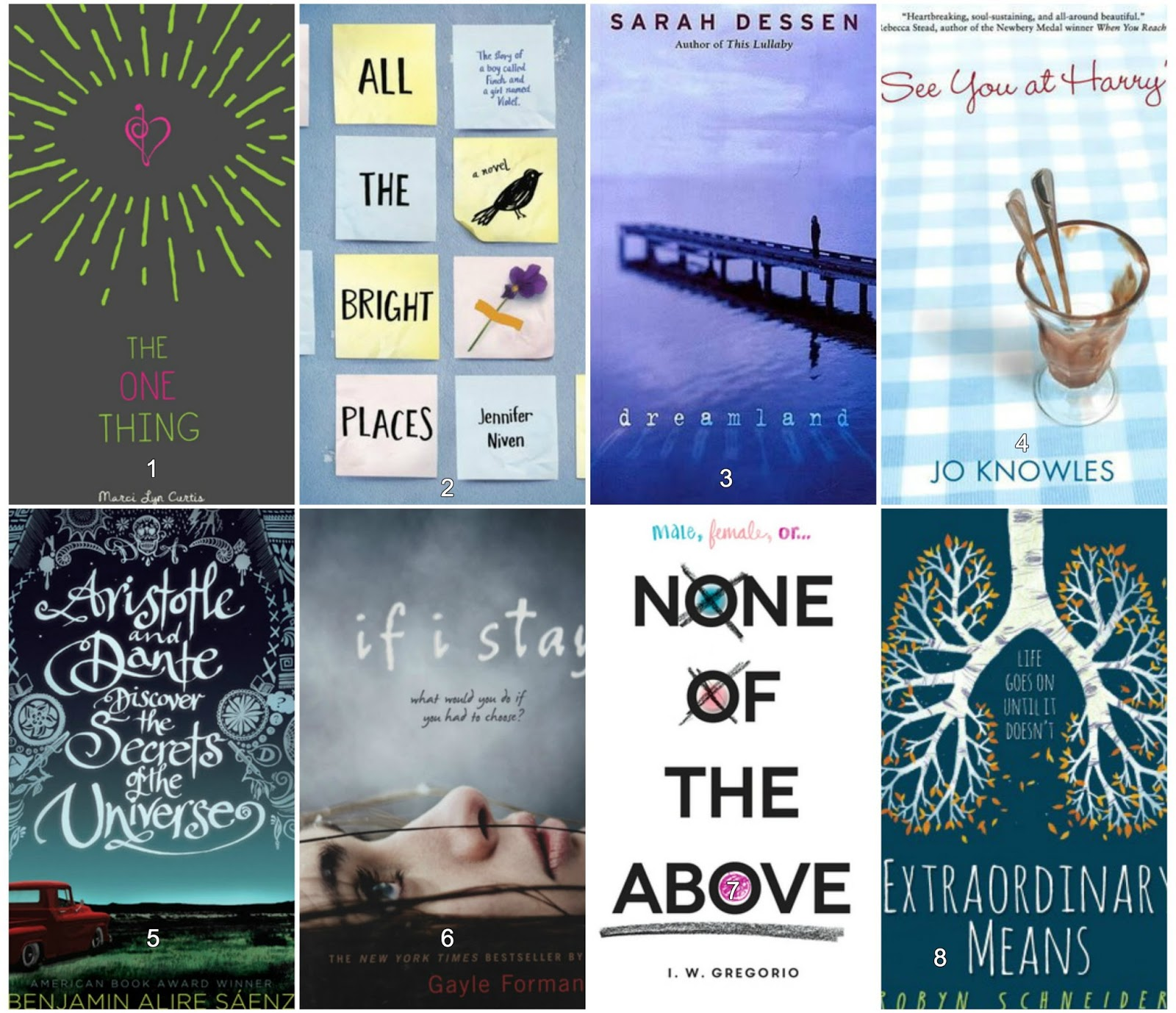 All the Bright Places - Jennifer Niven 3. Dreamland - Sarah Dessen 4. See  You At Harrys - Jo Knowles 5. Aristotle and Dante Discover the Secrets of  the ...