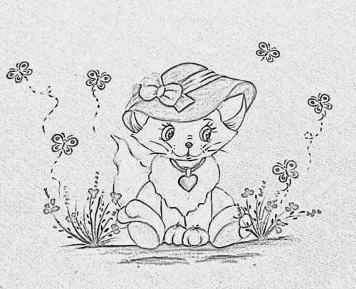 risco de gatinha com chapéu para pintar
