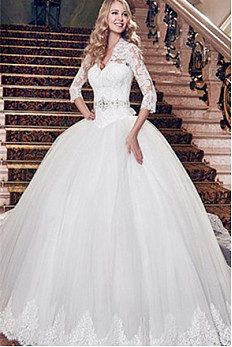 http://www.okdress.uk.com/outstanding-3-4-length-sleeves-ball-gown-sweep-train-lace-tulle-wedding-dresses-yrir4191/