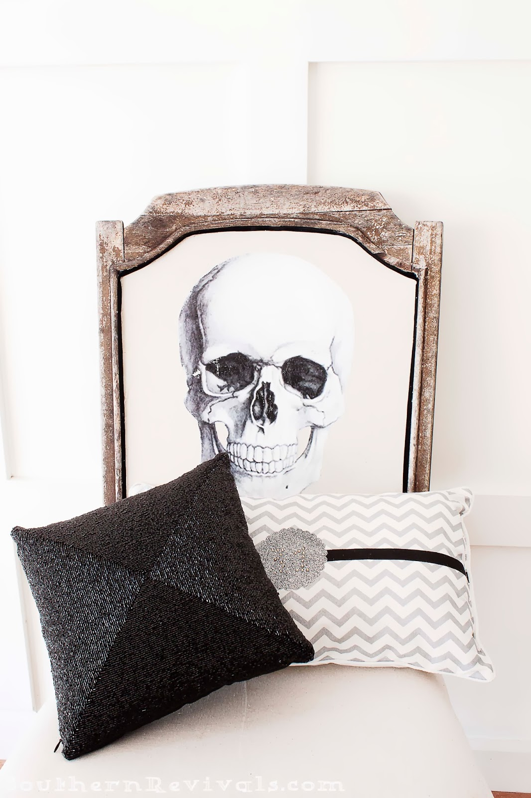 Wooden Skull Chair Adirondack Footstool Plans Diy Halloween Skeleton A Fun Upcycle For Ruined Makeover Redo