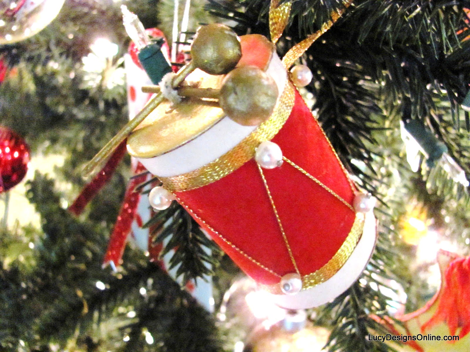 vintage drum felt ornament