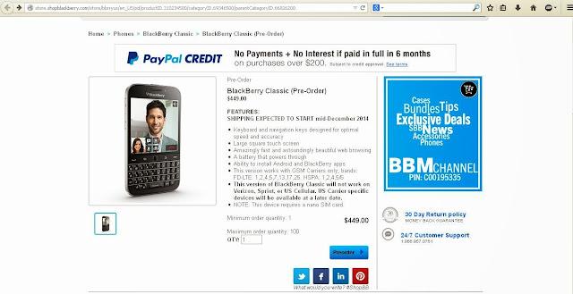 pre-order BlackBerry Classic