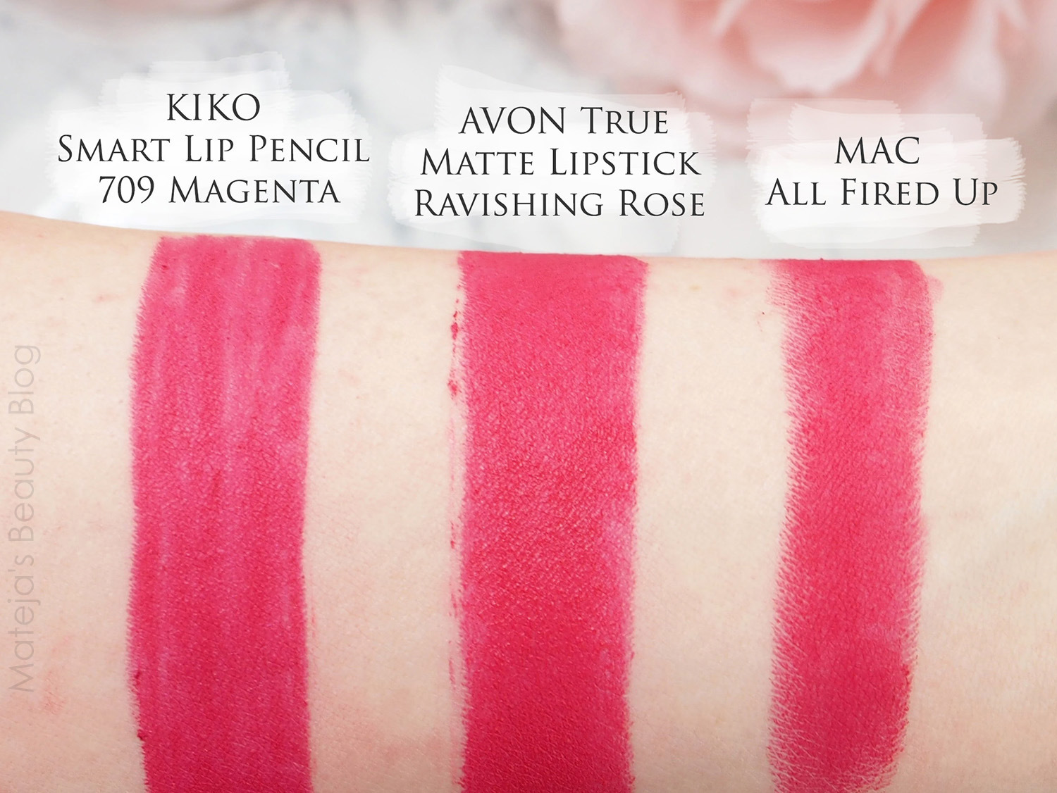 Super 20 Mac lipstick swatched plus their dupes - Mateja's Beauty Blog NM29