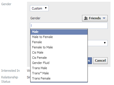 Facebook added custom identity genders male female transgender