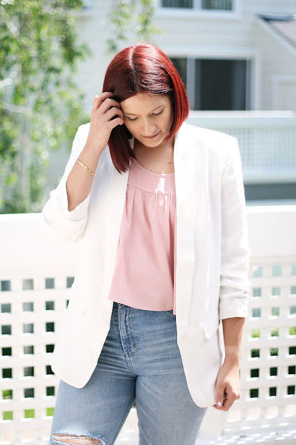 Spring tailored white blazer, blue ripped jeans, affordable women fashion, spring looks