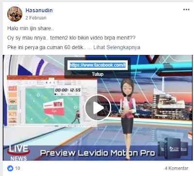 copy link url video untuk download video facebook