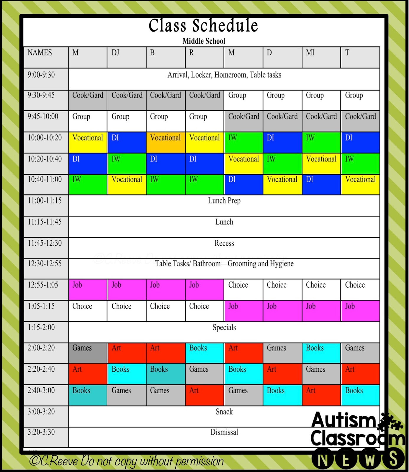 5 Examples of Setting Classroom Schedules in Special Education – Classroom Agenda Template