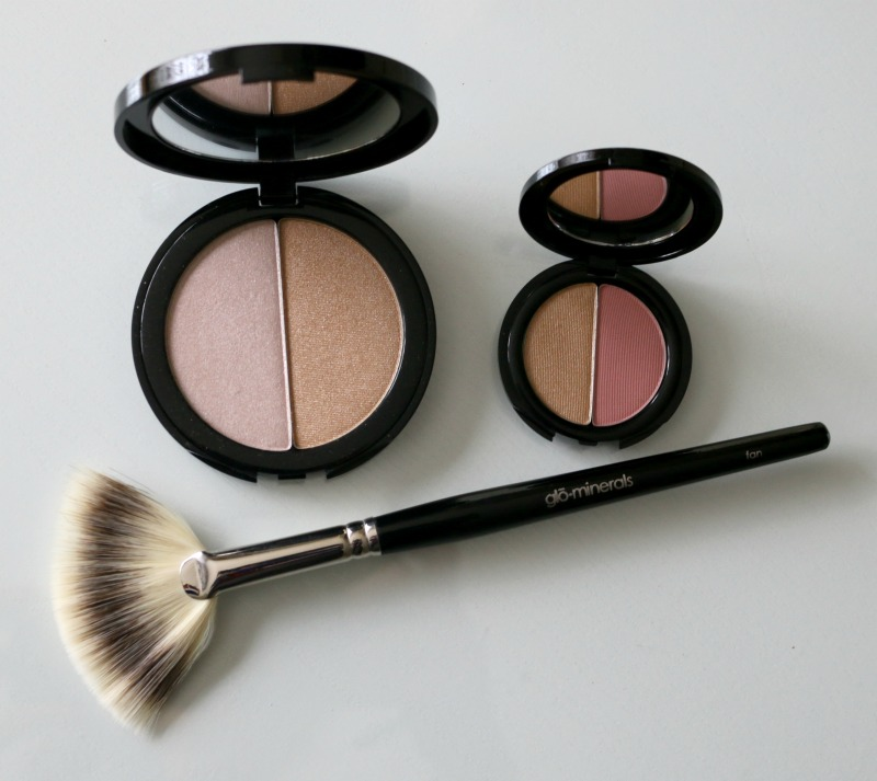 Glo Minerals Shimmer Duo Candle Blush Duo Garland Fan Brush