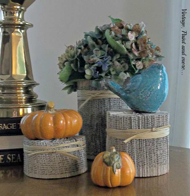 Vintage, Paint and more...book page columns, hydrangeas and pumpkins used in fall decor