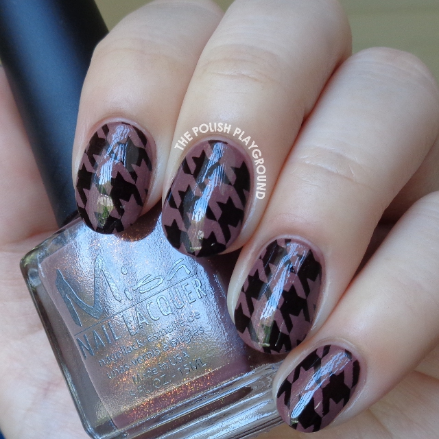 Brown Shimmer and Black Houndstooth Stamping Nail Art