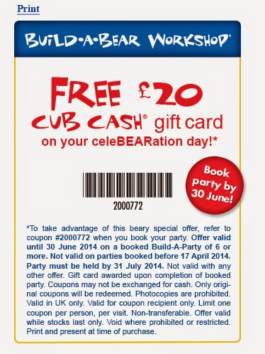 £20 Cub Cash Gift Card if you book a party before 30th June