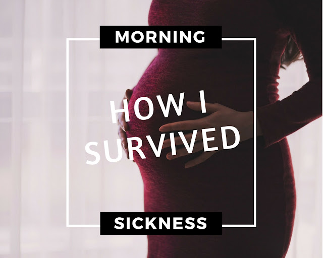 "Pregnant women with letters saying ""how I survived morning sickness"""