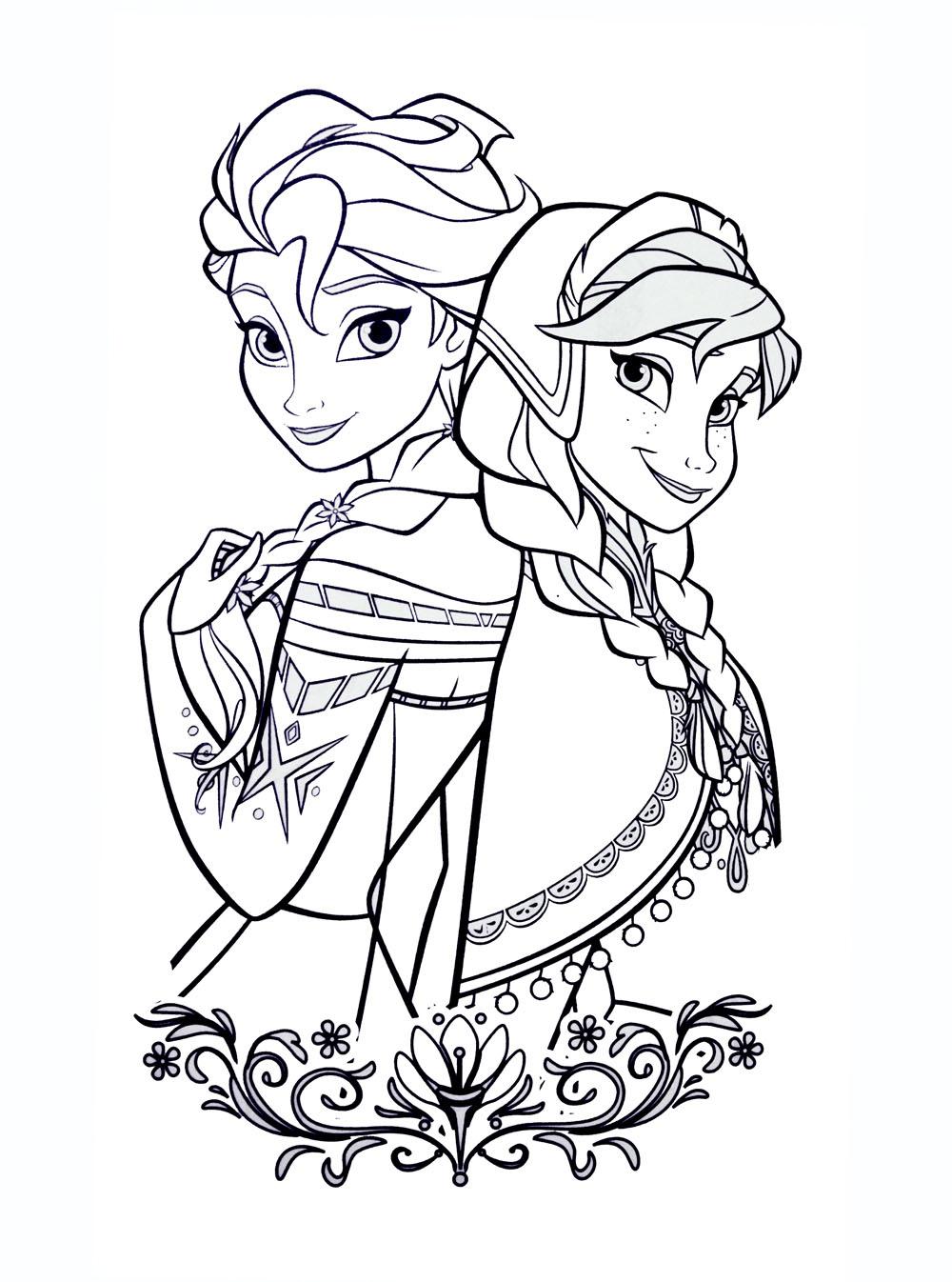 Tranh tô màu Elsa và Anna 17