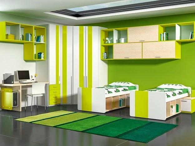 Dormitorios decorados en amarillo y verde dormitorios - Cucina verde acido ...